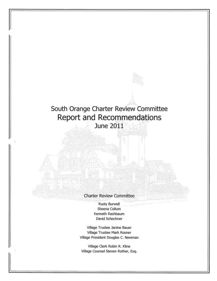 South Orange Charter Review Committee Recommendations