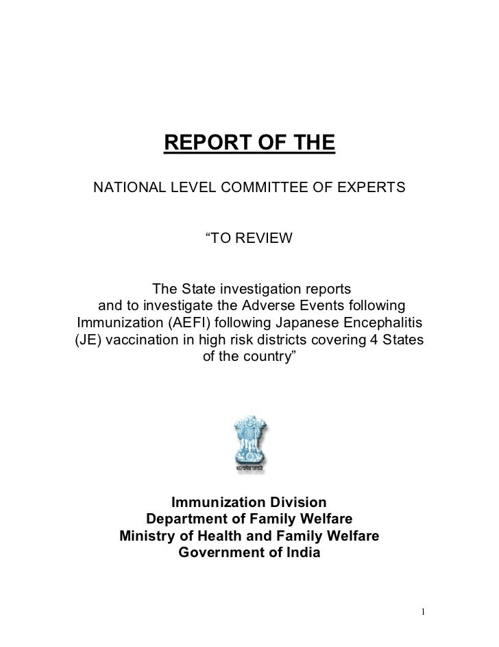 """REPORT OF THE   NATIONAL LEVEL COMMITTEE OF EXPERTS                     """"TO REVIEW            The State investigation repo..."""