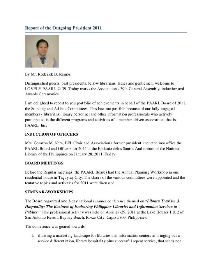Report of the outgoing president 2011