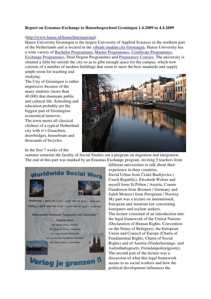 Report On Erasmus-Travel to Groningen