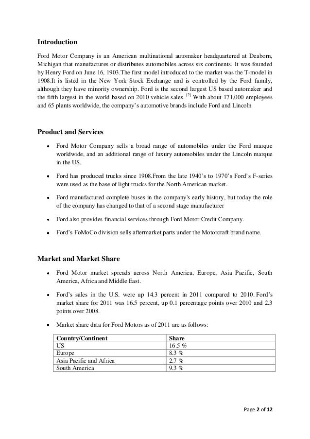 ford motor company marketing strategy essay Marketing analysis of the ford motor company and the uk motor that have significant implications for the determination of marketing strategy' uk essays.