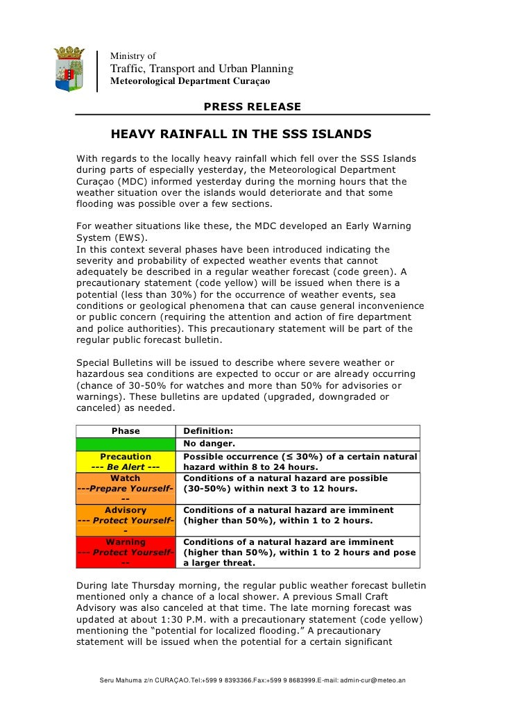 Report on heavy rainfall in the sss islands