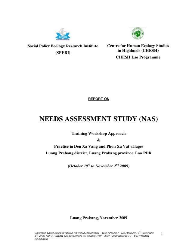 Need assessement study.lpb.oct.2009