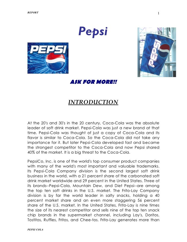 case study pepsi co assignment Therefore, a survey questioning different age groups around shanghai,  pepsi- cola was created in the late 1880's by pharmacist caleb bradham  after the u  s to post annual sales of more than one million unit cases.