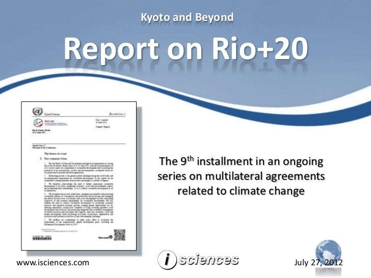 Report on Rio+20 UNCSD 2012