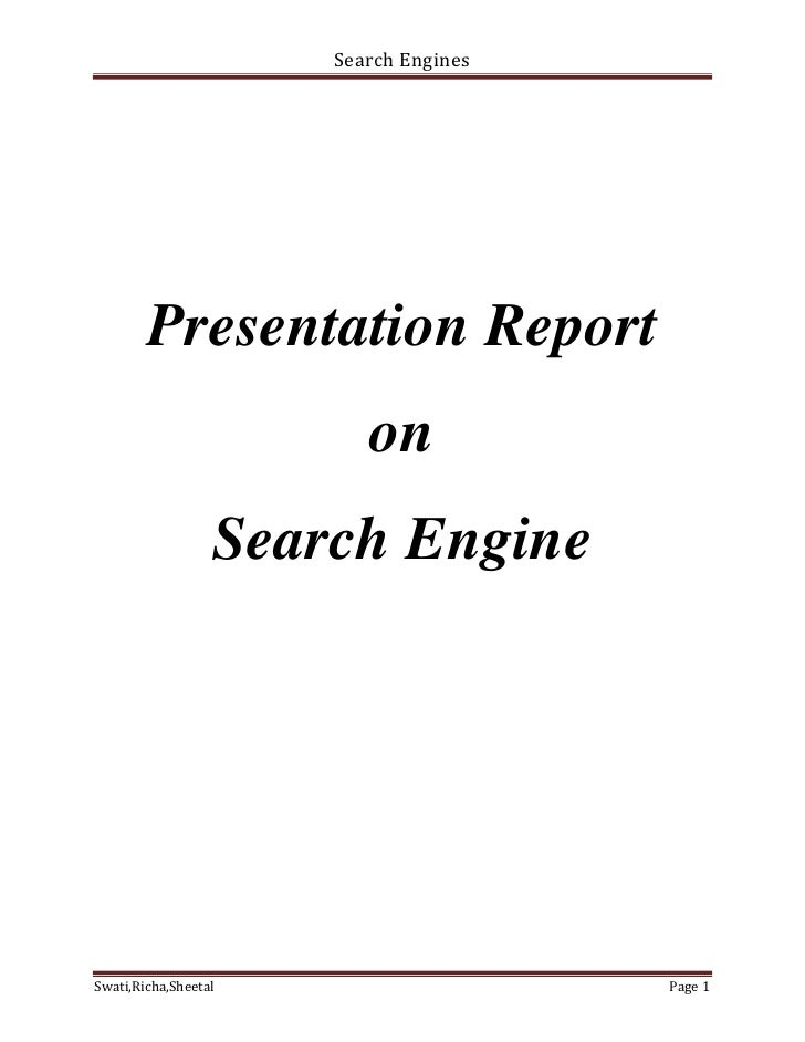 Report on search engines