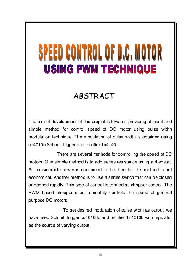 Report on speed control of d c motor using pwm method for Brushless dc motor control using digital pwm techniques