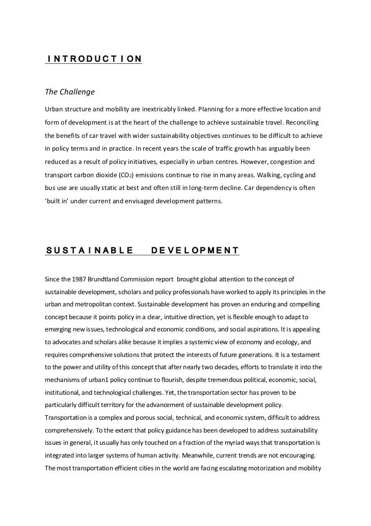 INTRODUCTIONThe ChallengeUrban structure and mobility are inextricably linked. Planning for a more effective location andf...
