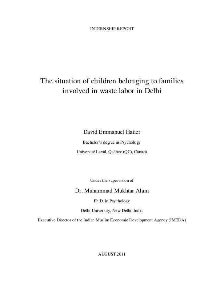 Report on the situation of slum children in delhi