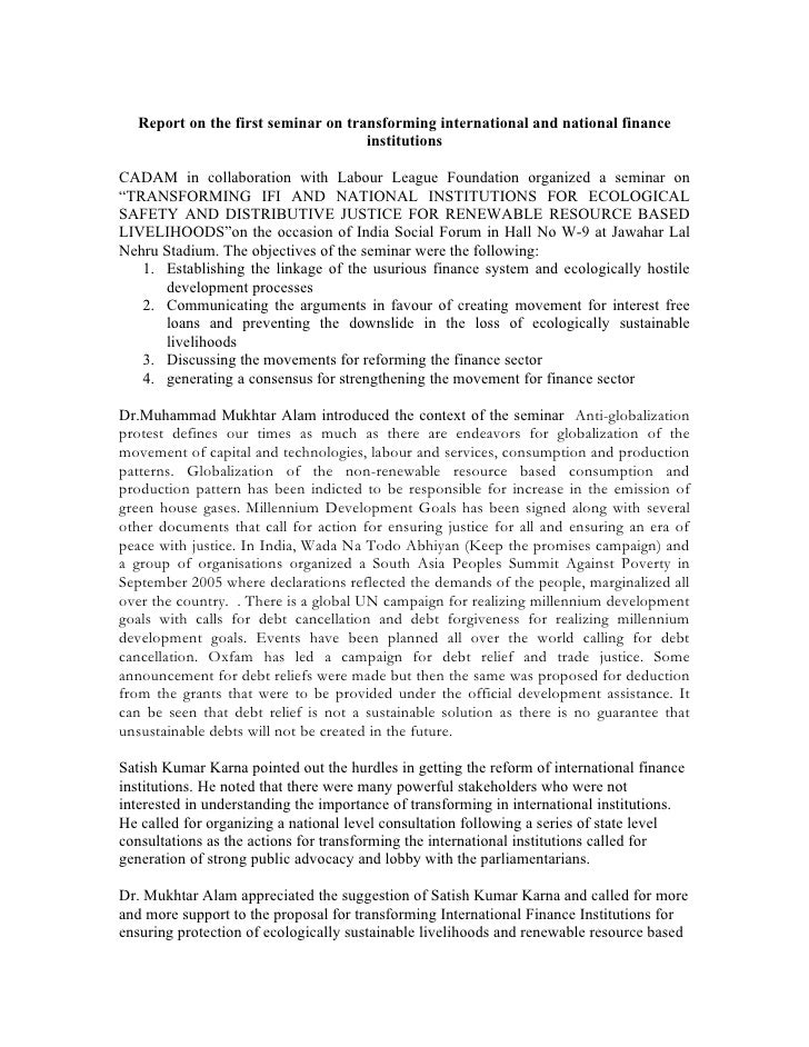Report On Wsf Seminar On Transforming Ifi  National Institutions For Ecological Safety And Distributive Justice For Renewable Resource Based Livelihoods