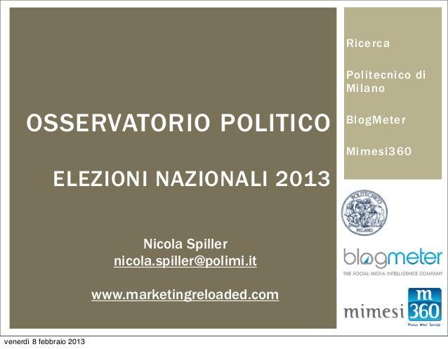 Report Osservatorio Politico gennaio 2013