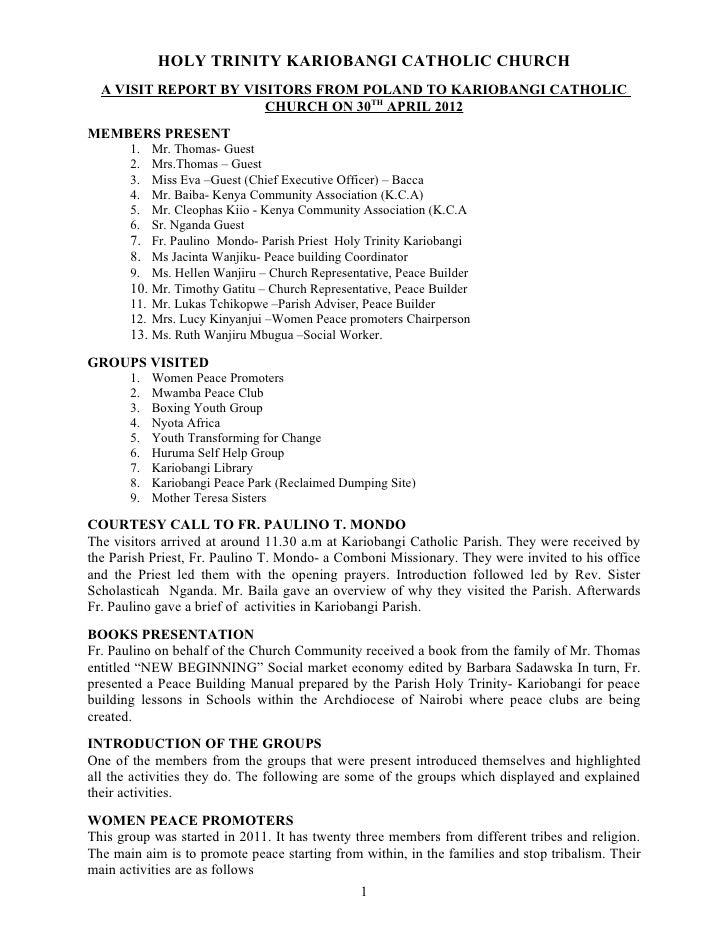 HOLY TRINITY KARIOBANGI CATHOLIC CHURCH  A VISIT REPORT BY VISITORS FROM POLAND TO KARIOBANGI CATHOLIC                    ...