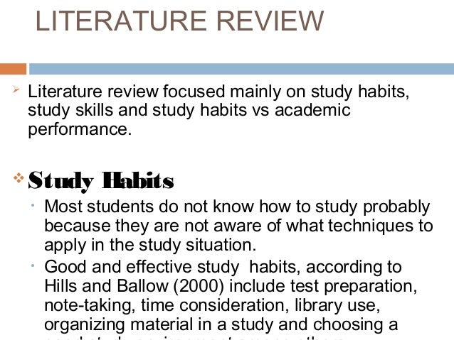 Review of related literature on study habits and academic performance