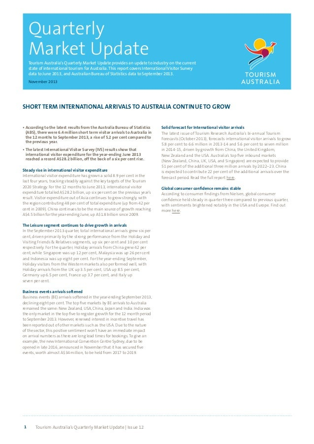 Quarterly Market Update Tourism Australia's Quarterly Market Update provides an update to industry on the current state of...