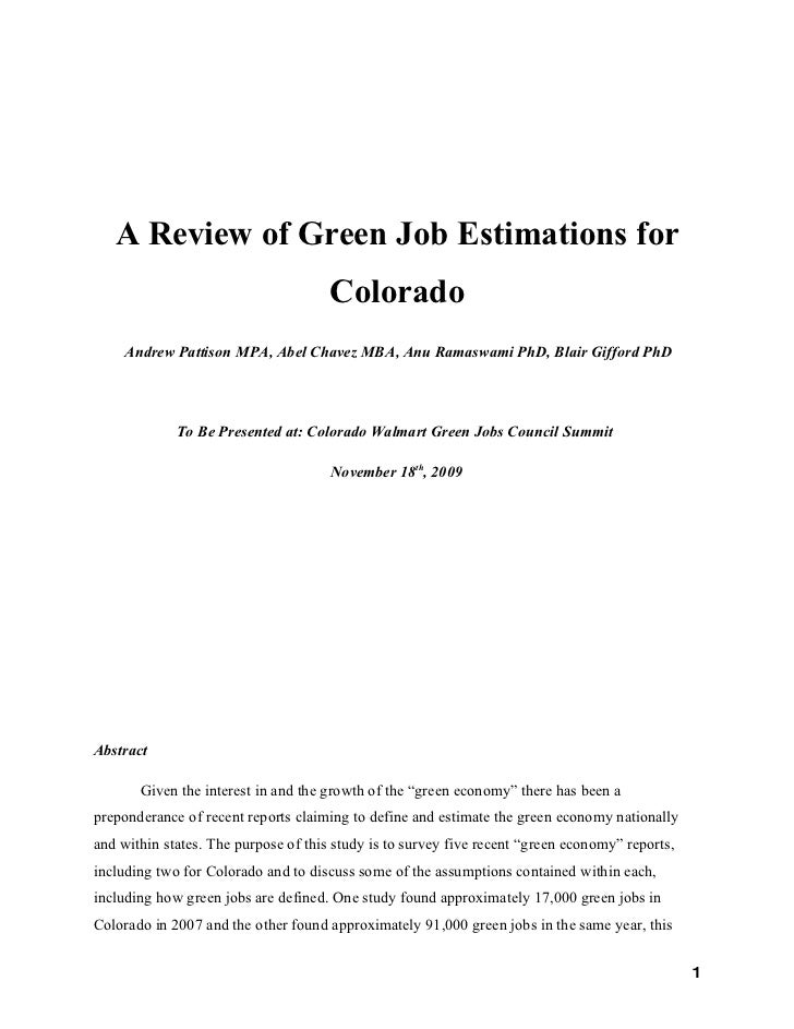 Report, Review Of Green Job Estimations For Co