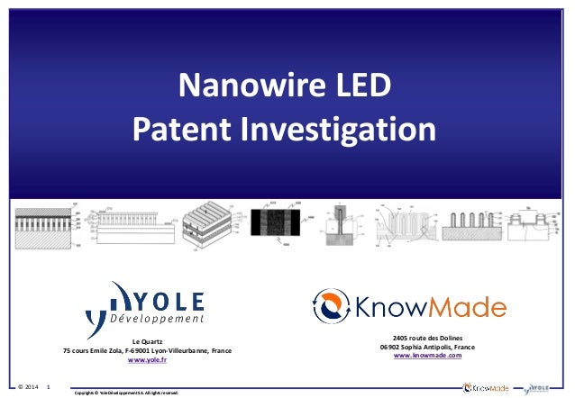 Nanowire LED Patent Investigation IP 2014 Report by Yole Developpement