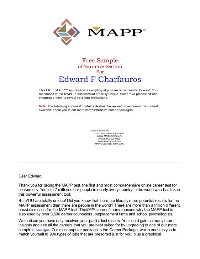 Free Sample of Narrative Section For  Edward F Charfauros This FREE MAPP™ appraisal is a sampling of your narrative result...