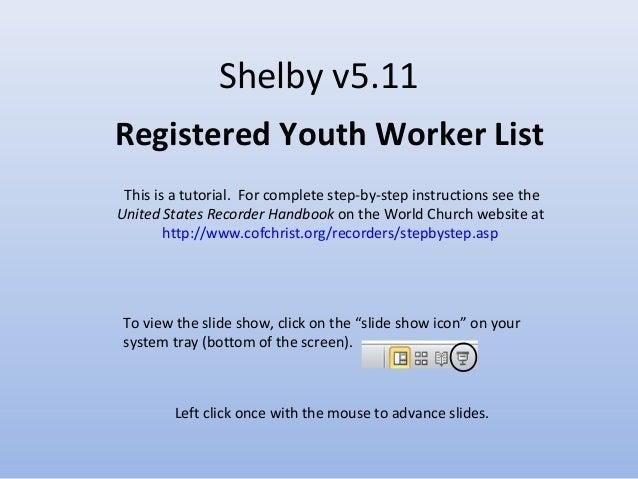 Shelby v5.11 Registered Youth Worker List