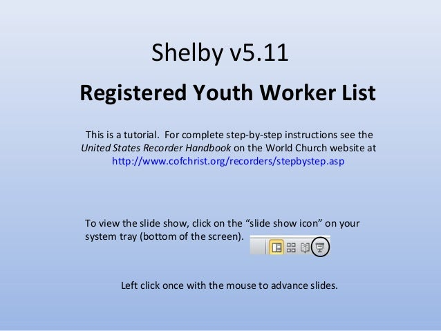 Tutorial - Registered Youth Worker Report
