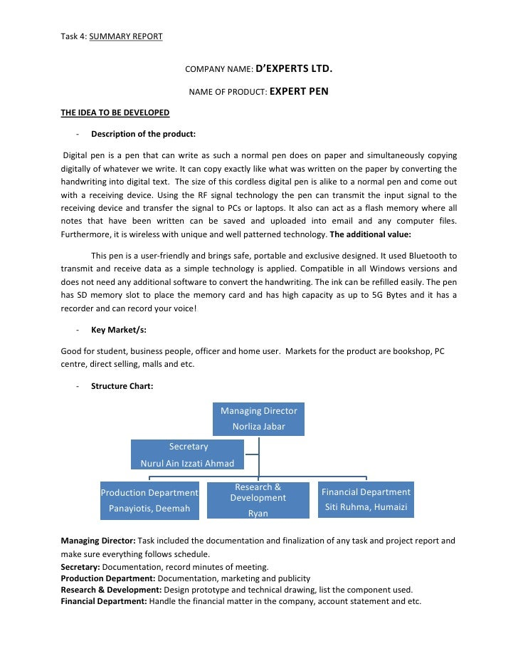 Task 4: SUMMARY REPORT                                    COMPANY NAME: D'EXPERTS LTD.                                    ...