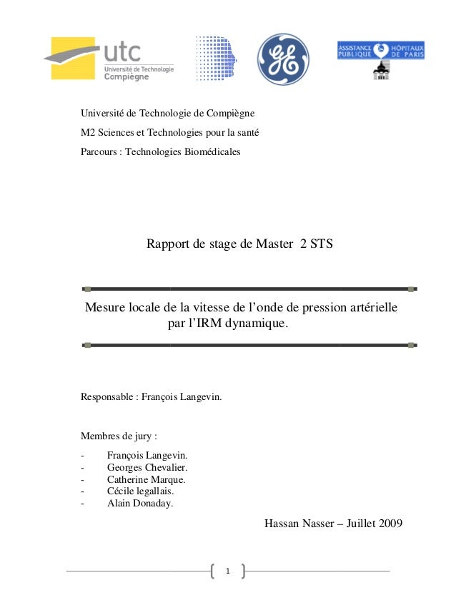 Université de Technologie de CompiègneM2 Sciences et Technologies pour la santéParcours : Technologies Biomédicales       ...