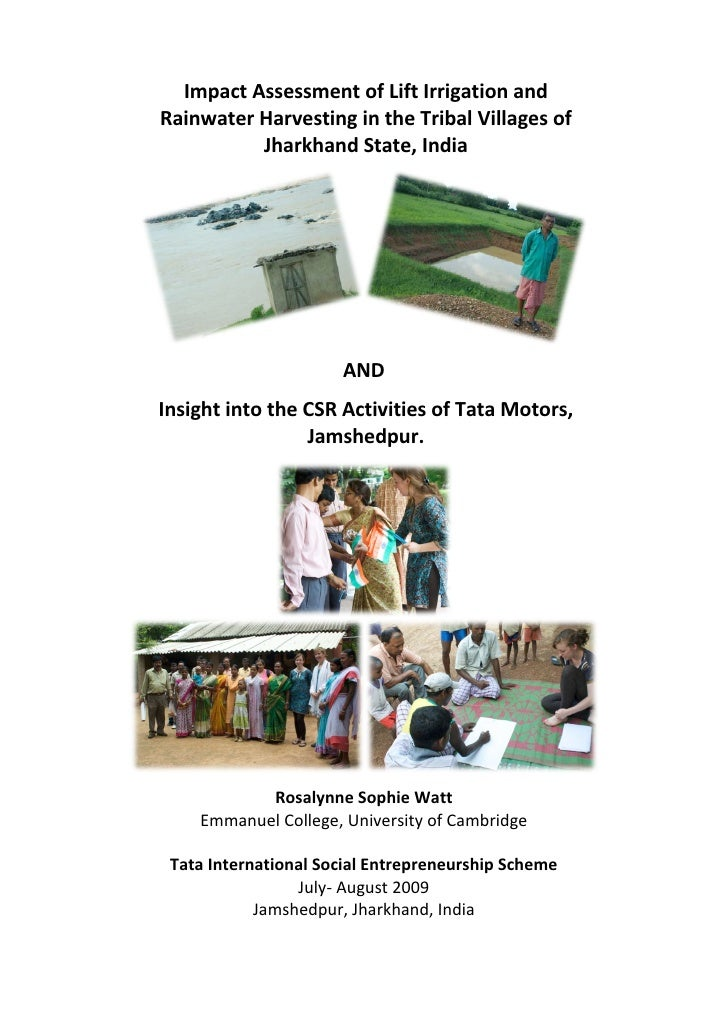 ImpactAssessmentofLiftIrrigationandRainwaterHarvestingintheTribalVillagesof          JharkhandState,India ...