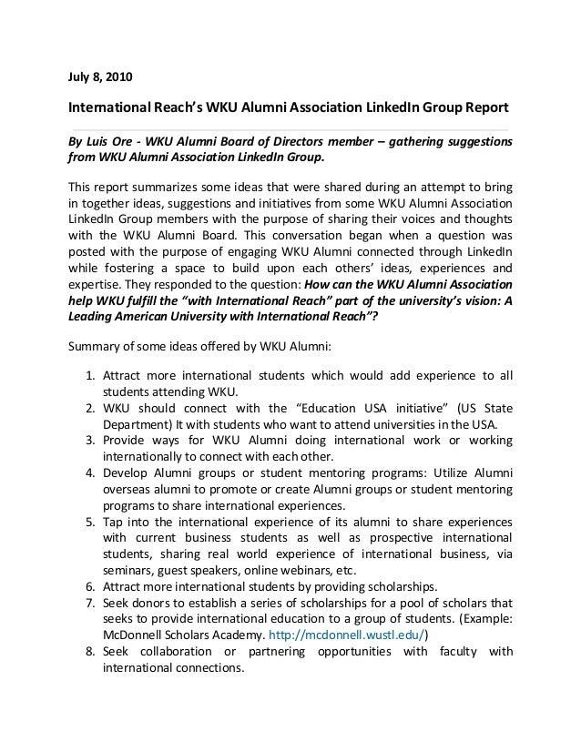 July 8, 2010 International Reach's WKU Alumni Association LinkedIn Group Report By Luis Ore - WKU Alumni Board of Director...