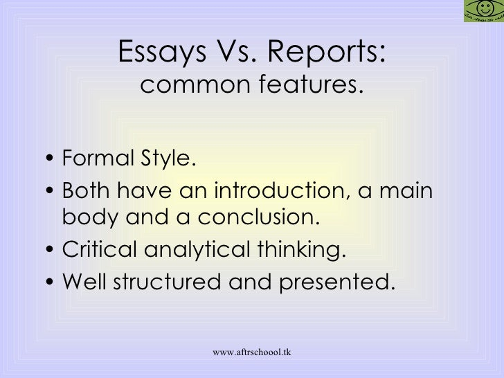 essay vs report style My essay was produced by a well-trained writer i liked the style of writing, as well as the organization of work thanks for the promptness.