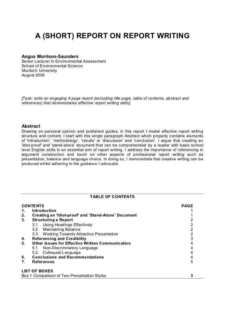 A (SHORT) REPORT ON REPORT WRITINGAngus Morrison-SaundersSenior Lecturer in Environmental AssessmentSchool of Environmenta...