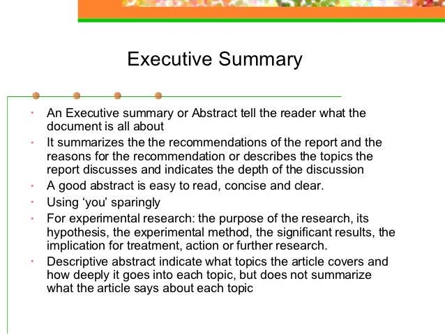 Summary report writing