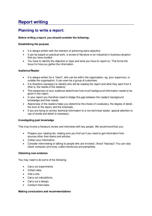 Report writing services format sample