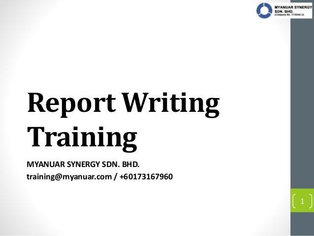 Training on report writing