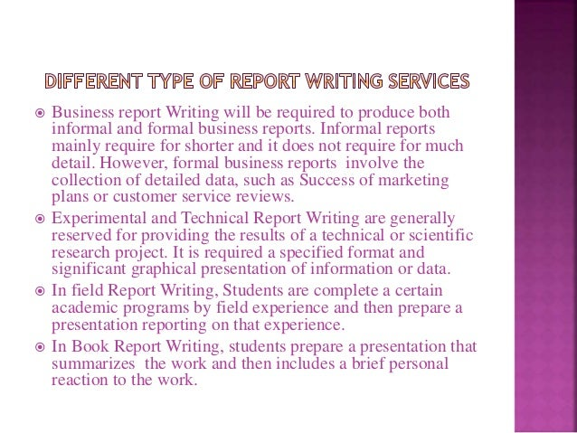 Report writing services