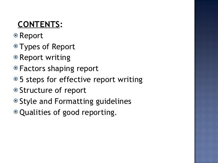 Writing a business report