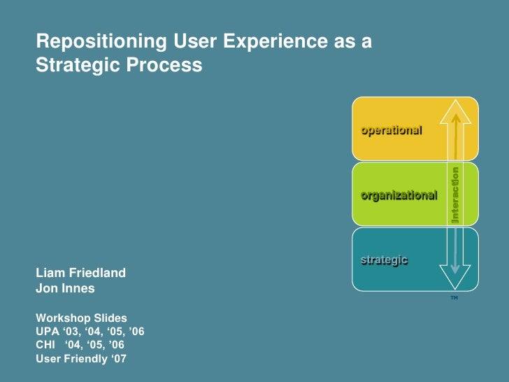 Repositioning User Experience as a Strategic Process                                   operational                        ...