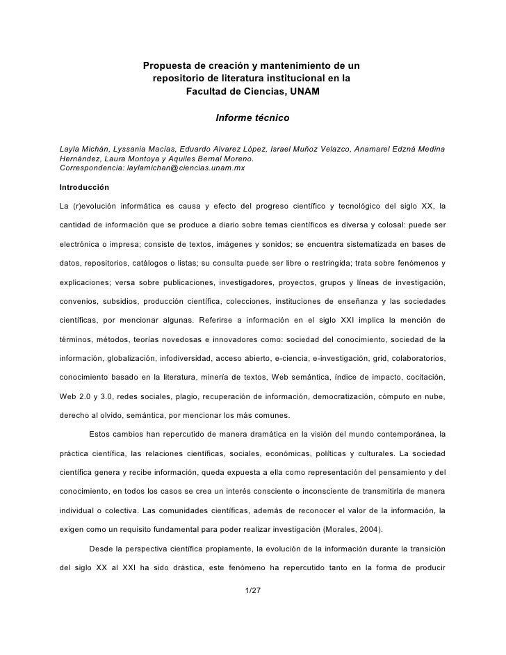 Propuesta de creación y mantenimiento de un                          repositorio de literatura institucional en la        ...