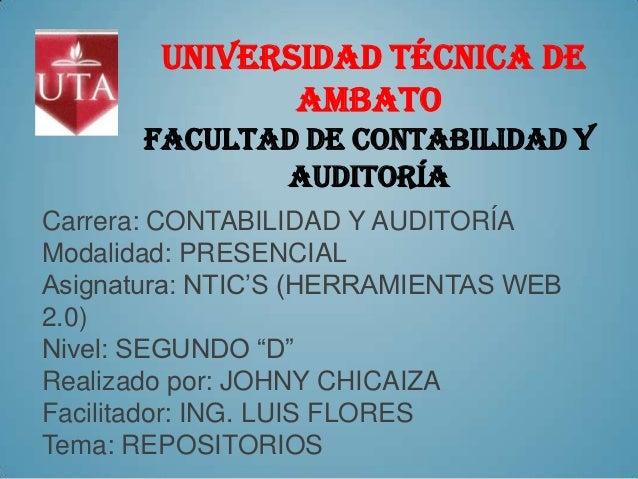 UNIVERSIDAD TÉCNICA De               AMBATO       FACULTAD DE CONTABILIDAD Y              AUDITORÍACarrera: CONTABILIDAD Y...
