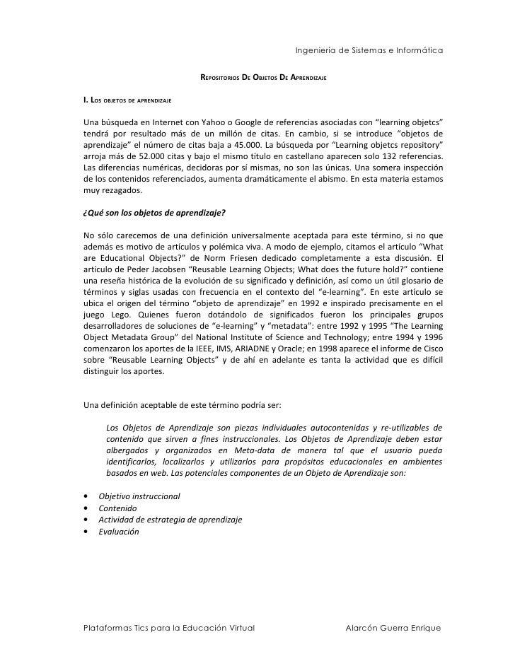 Ingeniería de Sistemas e Informática                                   REPOSITORIOS DE OBJETOS DE APRENDIZAJE  I. LOS OBJE...