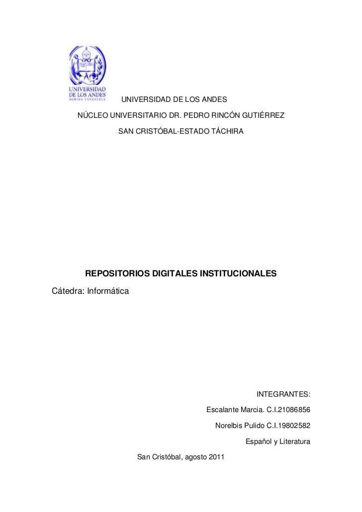 UNIVERSIDAD DE LOS ANDES      NÚCLEO UNIVERSITARIO DR. PEDRO RINCÓN GUTIÉRREZ                 SAN CRISTÓBAL-ESTADO TÁCHIRA...