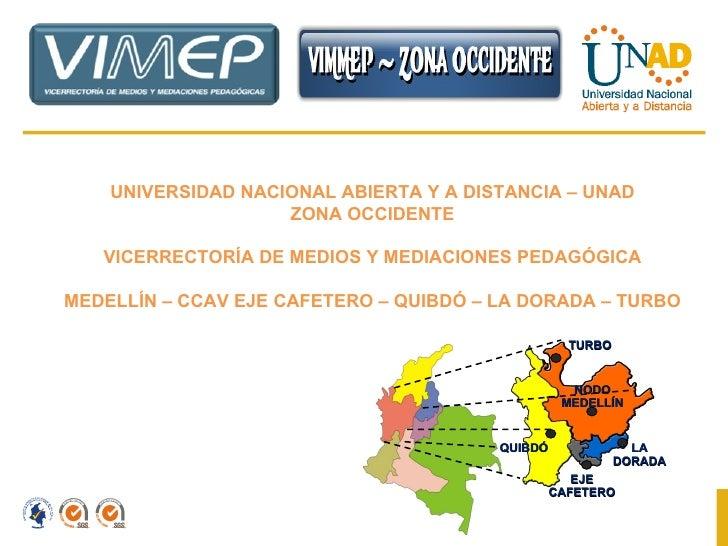 UNIVERSIDAD NACIONAL ABIERTA Y A DISTANCIA – UNAD ZONA OCCIDENTE VICERRECTORÍA DE MEDIOS Y MEDIACIONES PEDAGÓGICA MEDELLÍN...
