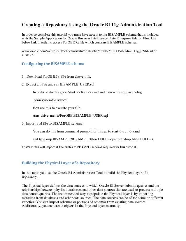 OBIEE 11g : Repository Creation Steps