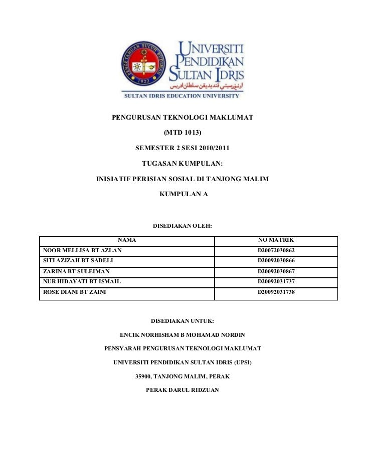 PENGURUSAN TEKNOLOGI MAKLUMAT                                      (MTD 1013)                              SEMESTER 2 SESI...