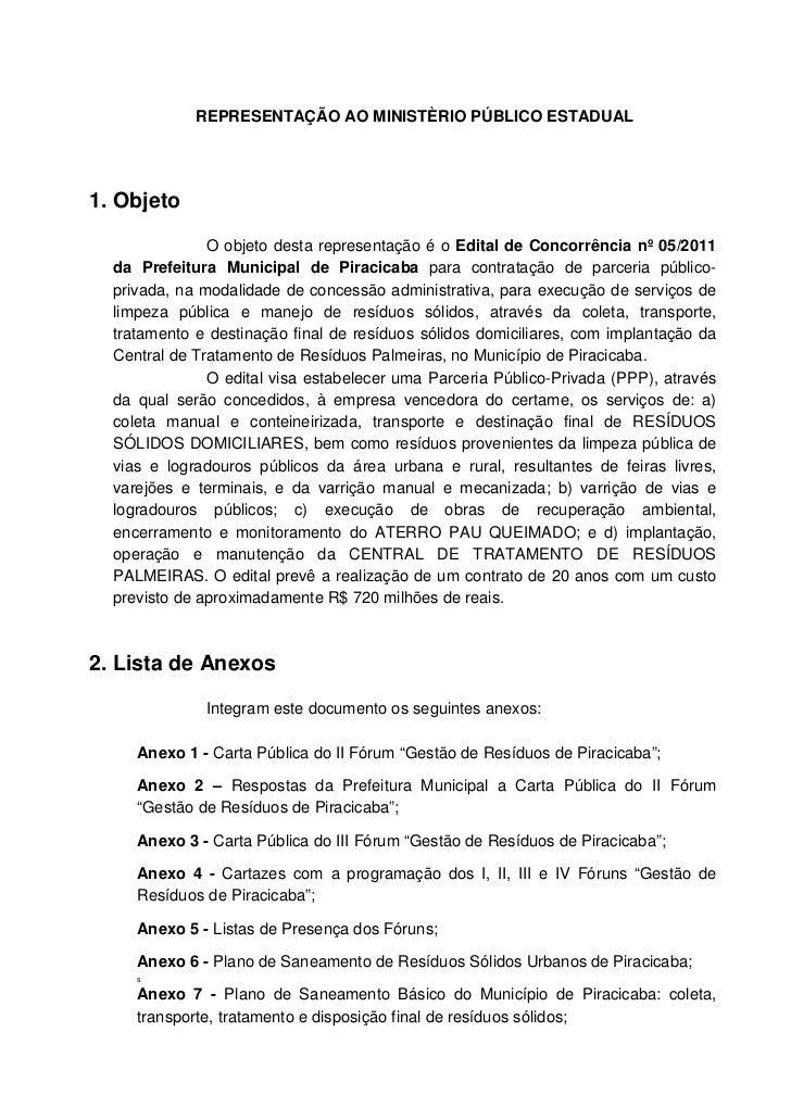 Representação ao Ministério Público Estadual