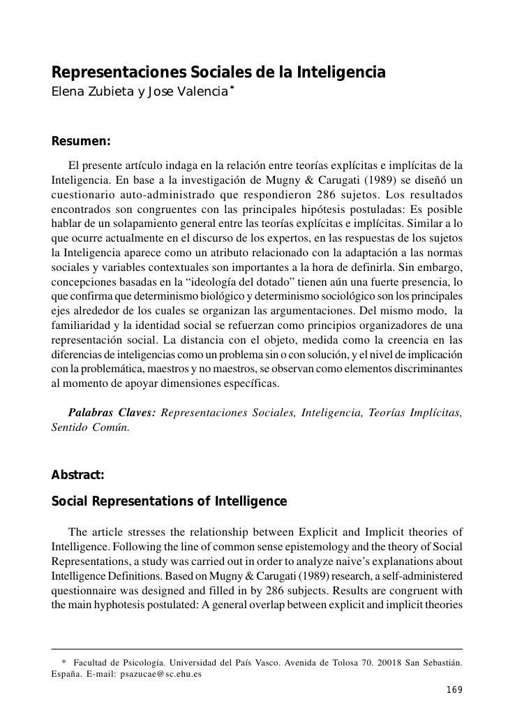 Representaciones Sociales de la InteligenciaRepresentaciones Sociales de la InteligenciaElena Zubieta y Jose Valencia *Res...
