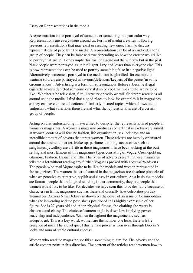 representation of women on television media essay Representation of athletes in the media essay subject of the representation of female athletes in the media, from television representation of women in horror essay.