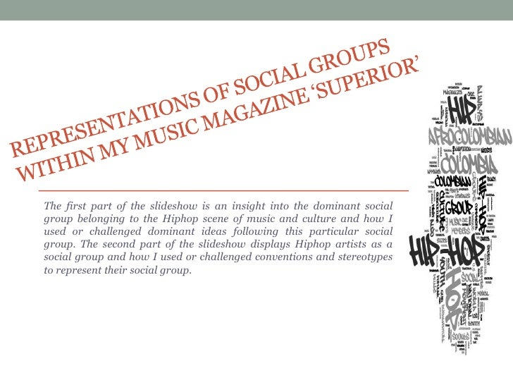 Representations of social groups within my music magazine