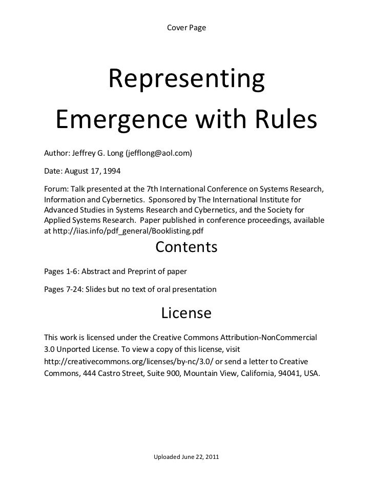 Representing emergence with rules