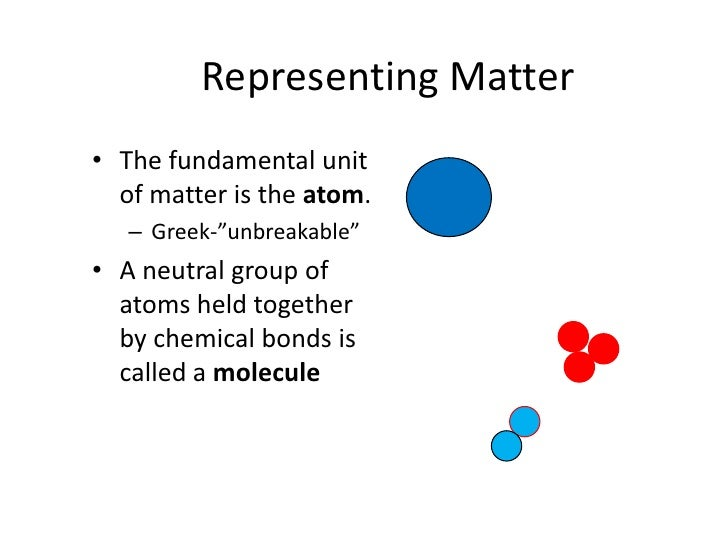 """Representing Matter<br />The fundamental unit of matter is the atom.<br />Greek-""""unbreakable""""<br />A neutral group of atom..."""