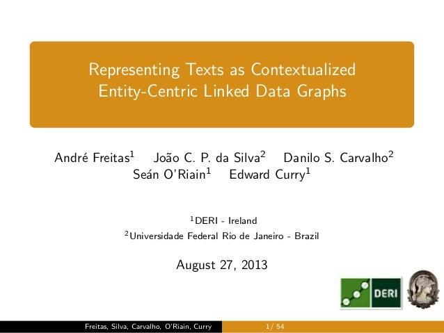 , Representing Texts as Contextualized Entity-Centric Linked Data Graphs Andr´e Freitas1 Jo˜ao C. P. da Silva2 Danilo S. C...
