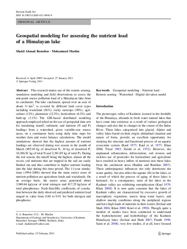 Environ Earth SciDOI 10.1007/s12665-011-0944-9 ORIGINAL ARTICLEGeospatial modeling for assessing the nutrient loadof a Him...